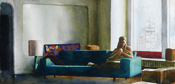 Girl in green couch